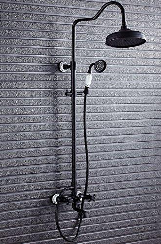 MQHY - Schwarz Antik Kupfer Blume Keramik Dusche setzt kann nach oben und unten die Dusche Dusche System für Badezimmer Badewanne Luxus Dusche setzt gehobene Retro Dusche Wasserhahn Dusche Badewanne duschen Tippen. (Badewanne Wasserhahn-combo Dusche Und)
