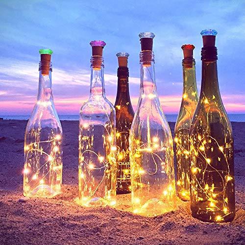 ([9+12] LED Flaschenlicht Innen Außen mit 12 Batterien 20erLichterkette für Flaschen Flaschenlicht Warmweiß Innen und Außen 2M Flaschenlichter Kork Lichterkette für Weihnachten Hochzeit Party)