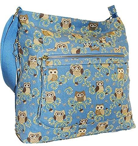 New Ladies Womens Canvas Oilcloth Faux Leather Crossbody Shoulder Bag Handbag Girls Large School Bag Owl Butterfly Horse Flower Design HB-2478 (Canvas Owl
