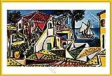 Picasso, Pablo - Mediterranean Landscape - Poster Gemälde Kunst - Grösse 91,5x61 cm + Wechselrahmen der Marke Shinsuke® Maxi aus Kunststoff Gelb - mit Acrylglas-Scheibe.
