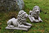 Leones en los plintos par adorno de jardín escultura de piedra fundido a medida única años