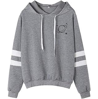 LONUPAZZ Sweat à Capuche Femme Imprimé à Manches Longues Sweat-Shirt Pull 82024b4f552