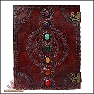 Leather Journal Seven Chakra Medieval Stone Embossed Handmade Antique Mehrab Design Book of Shadows Notebook Office Diary College Book Poetry Book Sketch Book Scrapbook 10 x 13 Inches for Men and Women