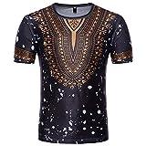 CICIYONER Bluse für Herren, Mode-afrikanisches gedrucktes T-Shirt der Männer Kurzarm Freizeithemd Tops Runder T-Shirt mit Runddruck im Ethno-Stil S-2XL (Schwarz-Q, M)