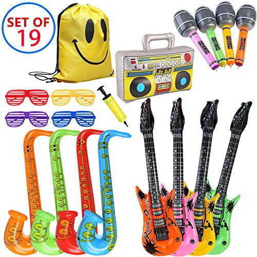 MI KAKA Inflatable Instruments Rock Star Toy Set para decoración de Fiesta Prop Photobooth Props Party Pin Juegos Favors Bolsas (19 Piezas de Color al Azar)