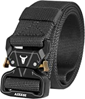 "AIZESI Men Tactical Belt 1.57"" Heavy Duty Belt, Quick-Release Military Style Shooters Nylon Belts with Metal Buckle"