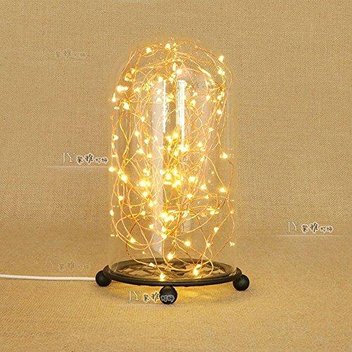 Pumpink LED Lichterketten Warm Tischlampe Zimmer Dekoriert Nachtlicht Glasflasche Gypsophila Schreibtisch Licht Neon Lichter Eisen Art Desktop Licht Leselampe (Color : Black)