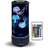 LED Fantasy Jellyfish Lava Lamp - Ronde Echte Kwallen Aquarium Lamp - 7 Kleur Instelling Kwallen Tank Mood Light - Kallen Tan