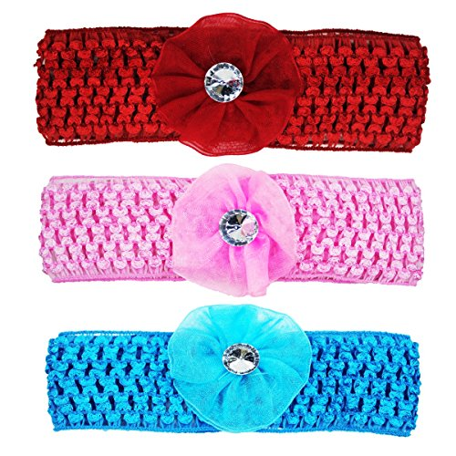 Crochet Cutwork Flower Baby Headband (Pink, Red, Blue) 3 Pcs Set