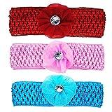Crochet Cutwork Flower Baby Headband (Pink, Red, Blue) 3 Pcs Set