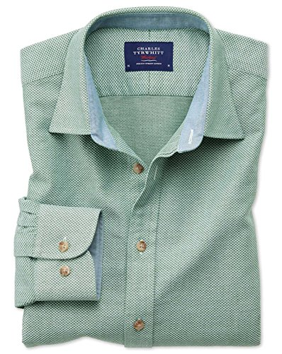 Classic Fit Hemd in gewaschenem Mittelgrün mit Struktur Einzel Manschette Größe L (Kragen-einzel Manschette-shirt)