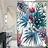 GWELL Blumen Blatt Duschvorhang Wasserdicht Anti-Schimmel inkl. 12 Duschvorhangringe für Badewanne und Duschwanne Muster-A 180x210cm