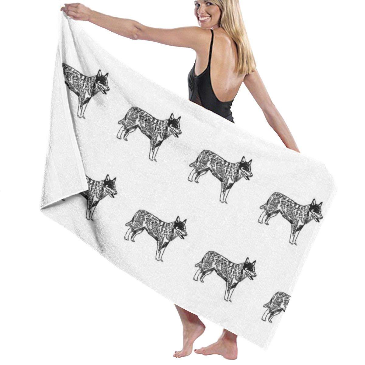 Australian Cattle Dog Dogs Pet Black And White Large Towel Blanket For Travel Pool Swimming Bath Camping Yoga Girl Women Men 32 X 52 Inch
