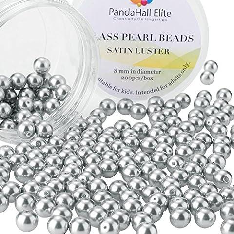 PandaHall Elite-1 Boite/Environ 200pcs 8mm Lustre Satine Perle en verre Rond Beads Perles Assortiment Lot,Pr creation de bijoux, Gris