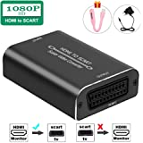HDMI a SCART Adattatore,Ozvavzk HDMI to Scart Convertitore 1080P Ingresso HDMI Uscita SCART Composito Video HD Audio Stereo p