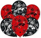 6 Luftballons * PIRATEN * in METALLIC-LOOK für den Kindergeburtstag oder Party // mit 85cm Umfang // Luftballon Ballons Deko Motto Kinderparty Pirates Totenkopf Skull Kinderpiraten