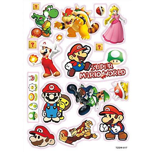 Sticker Mix 12 Stück (siehe Bild) Super Mario Aufkleber / Sticker für Auto, Notebook, Laptop, Skateboard