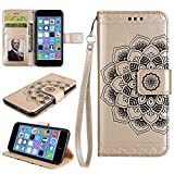 Cozy Hut iPhone 6/6S Hülle, iPhone 6/6S Hülle Leder Case, Premium Handy Schutzhülle für iPhone 6/6S Hülle Leder Wallet Tasche Flip Brieftasche Etui Schale, PU Schutz Etui Schale Gold Manda