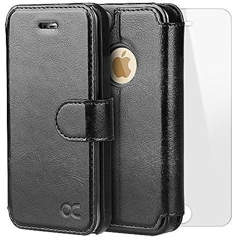 OCASE Funda iPhone 5S Funda iPhone 5 Funda iPhone SE Slim Case con Protector de Pantalla de Vidrio Templado, Soporte Plegable, Ranuras para Tarjetas y Billetes, Broche Magnético Funda Billetera Ultra Delgada para iPHONE 5 / 5S / SE -