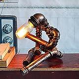 Lámpara de mesa ajustable del hierro del brillo, vintage industrial tubo de agua LED luz de la noche American Cafe comedor bar lámpara de escritorio estudio creativo dormitorio sala de estar lámpara de mesita de noche