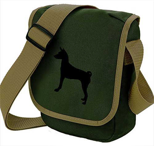 Bag Pixie - Borsa a tracolla unisex adulti Basenji Black on Olive