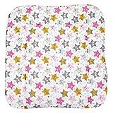 TupTam Baby Wickeltischauflage mit Baumwollbezug Gemustert, Farbe: Sterne Hello rosa, Größe: 70 x 70 cm