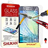Samsung Galaxy A3 Tempered Glass Crystal Clear LCD Screen Protector Guard & Polishing Cloth + RED 2 IN 1 Dust Stopper SVL1 BY SHUKAN®, (TEMPERED GLASS)