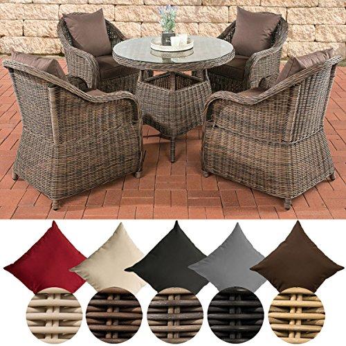 CLP Poly-Rattan Garten-Sitzgruppe FARSUND, 5 mm Rund-Geflecht (4 Stühle + Tisch rund Ø 90 cm, 10 cm Sitzkissen) Rattan Farbe braun-meliert, Bezugfarbe: Terrabraun