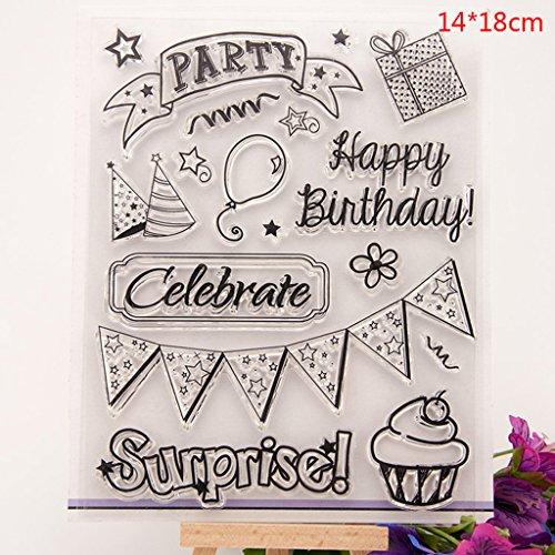 sunhoyu DIY Silikon Klar Stempel, Transparenter Stempel mit kreativen Bildern für Scrapbooking und Dekoration Schöne Abzeichen & Kalender#343# -