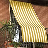 Paar Sonnenschutz-Vorhänge für Außenbereiche, aus gestreiftem Stoff, mit Ringen, für Balkon, Terrasse, Haus; 150x 250 cm,Gelb