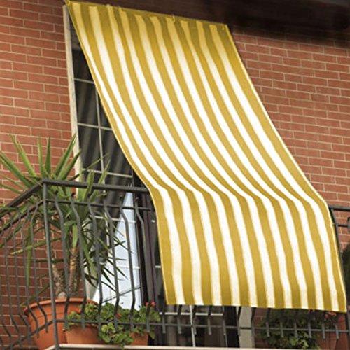 Galleria fotografica Tenda da sole per esterno in tessuto a righe con anelli per balcone, terrazzo, casa - Cm 150x250 - Giallo
