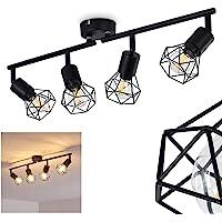 Plafonnier Baripada en métal noir, 4 spots de plafond pivotants de style rétro industriel, idéal dans un salon vintage…