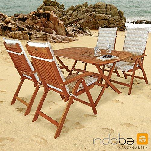 Indoba IND-70063-BASE5 plus IND-70411-AUHL Serie Gartenmöbelset, Eukalyptus/ Beige, 150x85x74 cm