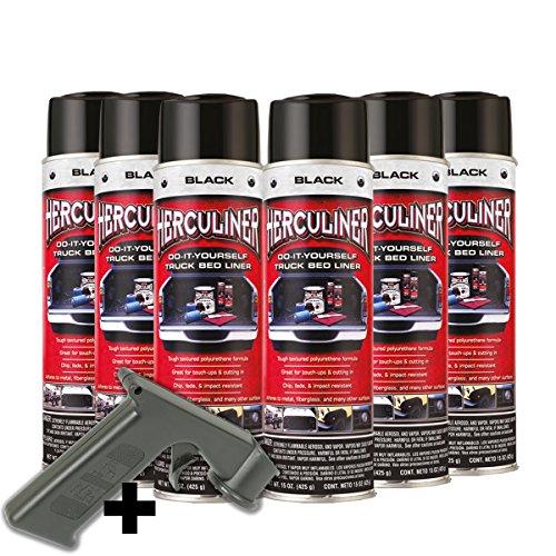 Herculiner 7m2 Spray 6x schwarz Beschichtung für Ladefläche PU Laderaumbeschichtung Ladefläche Ladewanne Beschichtung Pickup Bedliner