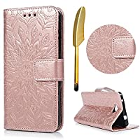 Nokia Lumia 650 Wallet Case, Lanveni Magnetic Closure Flip Folio Sunflower Pattern Classic PU Leather Folding Case with Lanyard Strap & Credit Card Slots [Kickstand] Pouch For Microsoft Nokia Lumia N650 with Free Touch Pen - Rose Gold
