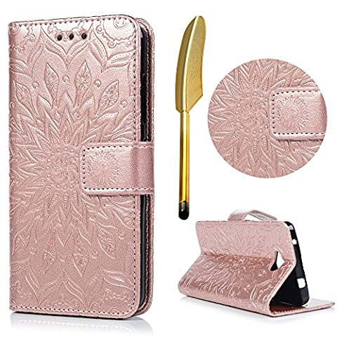 Nokia Lumia 650 Wallet Case, Lanveni Magnetic Closure Flip Folio Sunflower Pattern Classic PU Leather Folding Case with Lanyard Strap & Credit Card Slots [Kickstand] Pouch For Microsoft Nokia Lumia N650 with Free Touch Pen - Rose