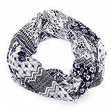 MANUMAR Loop-Schal für Damen   Hals-Tuch in Grau mit Blumen Motiv als perfektes Herbst Winter Accessoire   Schlauchschal   Damen-Schal   Rundschal   Geschenkidee für Frauen und Mädchen