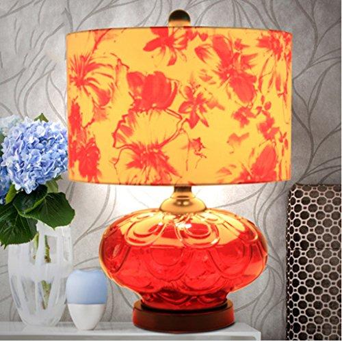 Heirat Creative Rose Crimson Glas Continental Lampe Schlafzimmer Bedside Wohnzimmer Tischlampe Warm Modern Minimalist -
