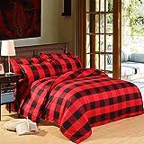 Zhiyuan Housse de Couette + 2 taies d'oreiller avec Carreaux Rouge et Noir, 220x240cm