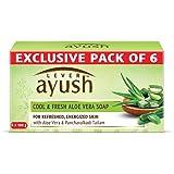 Lever Ayush Cool & Fresh Aloe Vera Soap, 100 g (Pack of 6)