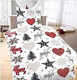 Baumwoll Biber Bettwäsche 135x200 Sterne Weihnachten Schnee Rentier
