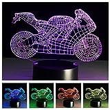 Multicolor Nachtlichter, 3D Nightlights 7 Farben ändern Touch Control LED Nacht Lampe für Kinder und Freunde (Motorrad)