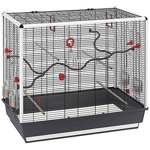 Ferplast Vogelheim Piano 7 für Kanarienvögel und Exoten – Kastenförmiger Vogelkäfig mit hochwertigem Zubehör und schwarzem Gitter – Maße 97 x 58 x 83 cm