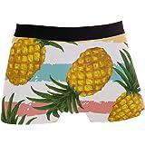 ALARGE - Boxer da uomo a righe colorate con ananas, biancheria intima morbida elasticizzata, per uomo e ragazzo, S-XL