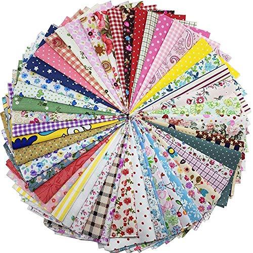 Gnognauq 100 pz Scampoli Tessuto Patchwork Stoffe in Cotone Tessuto Stoffe Scompato Floreale per Cucito Materiale Fai da te per Attività Creativa