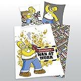 Klaus Herding GmbH Simpsons Homer Man at Work Umkehrbar Bettwäsche Kopfkissenbezug 80x 80cm Bettbezug 135x 200cm 100% Baumwolle