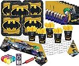 Batman Lego Partei liefert Kinder Geburtstag Party Geschirr für 8 Gäste - DC Comics Film Platten Tasse Tisch Decken mit kostenlosen Ballons Pumpe Kerzen