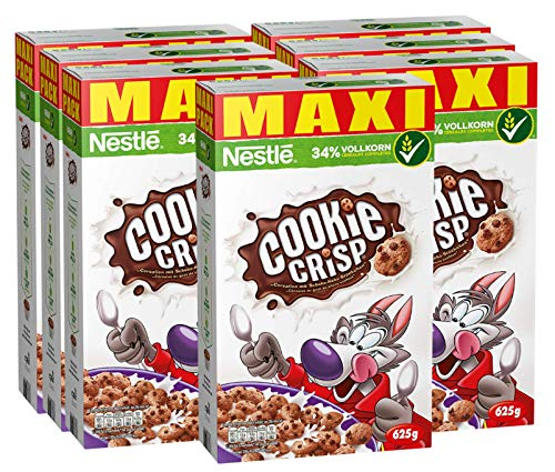 Nestlé Cookie Crisp | Müsli mit Schokokeksen | Für Kinder in Knusper-Keksform | 34% vitales Vollkorn | Mit Vitaminen, Calcium und Eisen | Maxi Vorratspackung | 7er Pack (7 x 625 g)