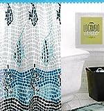 Duschvorhang Dusche 140 x 180 cm Mod Mosaik mit Gürtelschlaufe fertig zum Aufhängen, wasserabweisend * Kunststoff * Waschbar * ohne Wasserdicht * Exklusives Design *