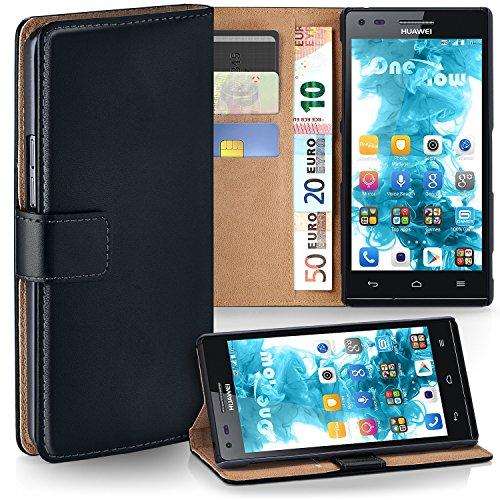 moex Huawei P7 Mini | Hülle Schwarz mit Karten-Fach 360° Book Klapp-Hülle Handytasche Kunst-Leder Handyhülle für Huawei P7 Mini Case Flip Cover Schutzhülle Tasche